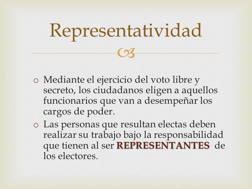 o Mediante el ejercicio del voto libre y secreto, los ciudadanos eligen a aquellos funcionarios que van a desempeñar los cargos de poder. REPRESENTANT