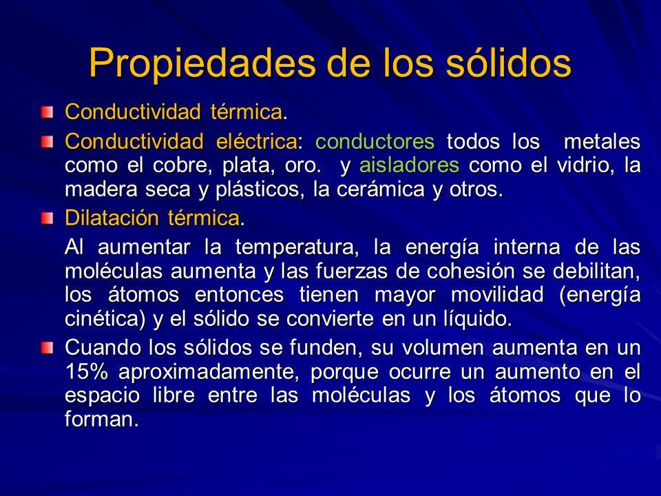 Propiedades de los sólidos Conductividad térmica. Conductividad eléctrica: conductores todos los metales como el cobre, plata, oro. y aisladores como
