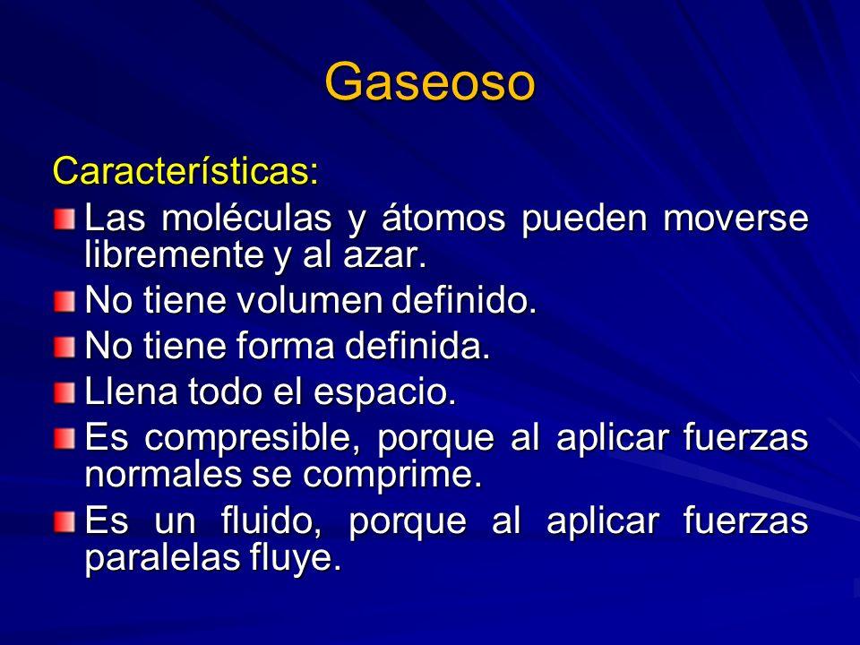 Gaseoso Características: Las moléculas y átomos pueden moverse libremente y al azar. No tiene volumen definido. No tiene forma definida. Llena todo el