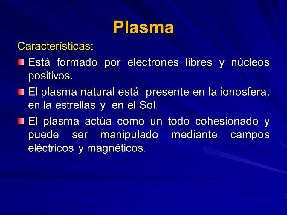 Plasma Características: Está formado por electrones libres y núcleos positivos. El plasma natural está presente en la ionosfera, en la estrellas y en