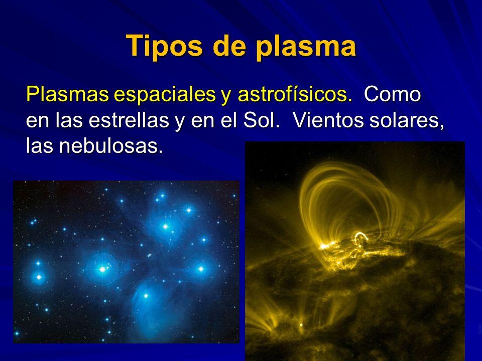 Tipos de plasma Plasmas espaciales y astrofísicos. Como en las estrellas y en el Sol. Vientos solares, las nebulosas.