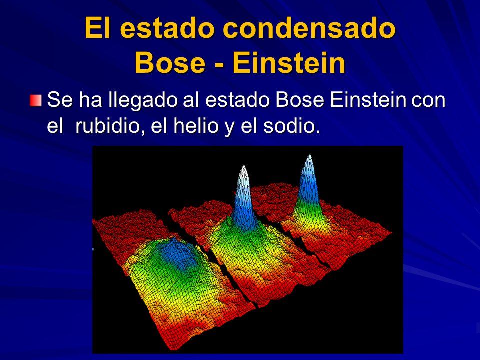 El estado condensado Bose - Einstein Se ha llegado al estado Bose Einstein con el rubidio, el helio y el sodio.