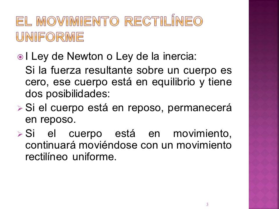I Ley de Newton o Ley de la inercia: Si la fuerza resultante sobre un cuerpo es cero, ese cuerpo está en equilibrio y tiene dos posibilidades: Si el c