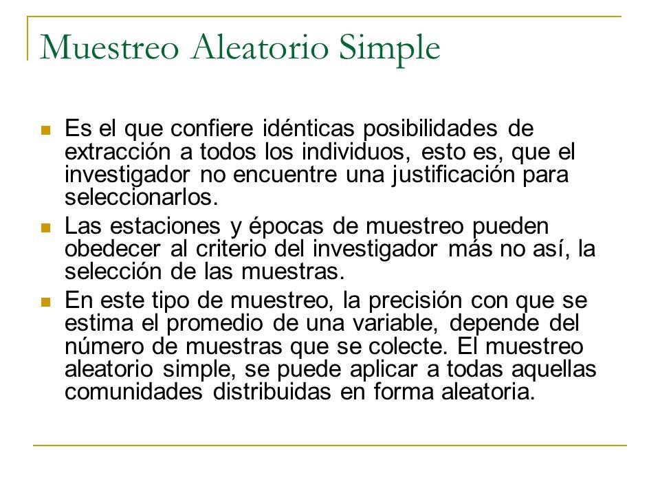 Muestreo Aleatorio Simple Es el que confiere idénticas posibilidades de extracción a todos los individuos, esto es, que el investigador no encuentre u