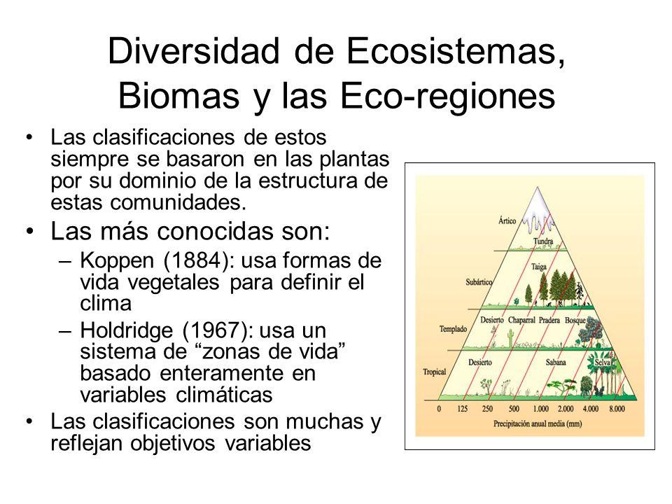 Diversidad de Ecosistemas, Biomas y las Eco-regiones Las clasificaciones de estos siempre se basaron en las plantas por su dominio de la estructura de