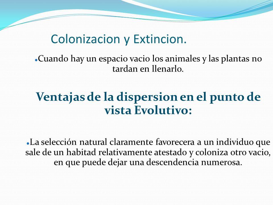 Colonizacion y Extincion. Cuando hay un espacio vacio los animales y las plantas no tardan en llenarlo. Ventajas de la dispersion en el punto de vista