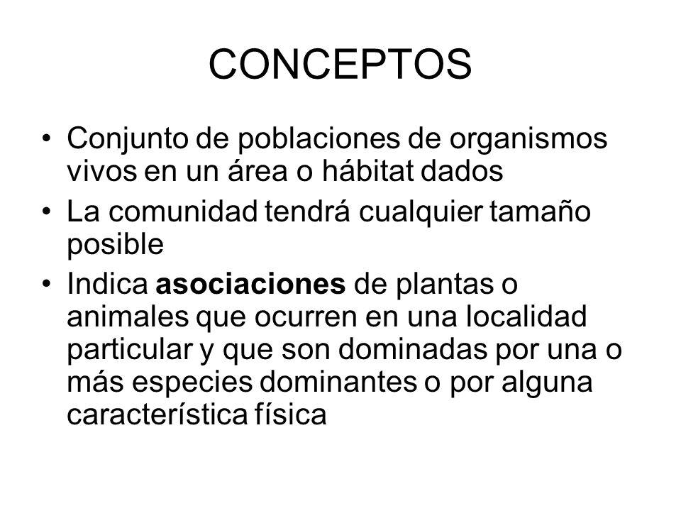 CONCEPTOS Conjunto de poblaciones de organismos vivos en un área o hábitat dados La comunidad tendrá cualquier tamaño posible Indica asociaciones de p