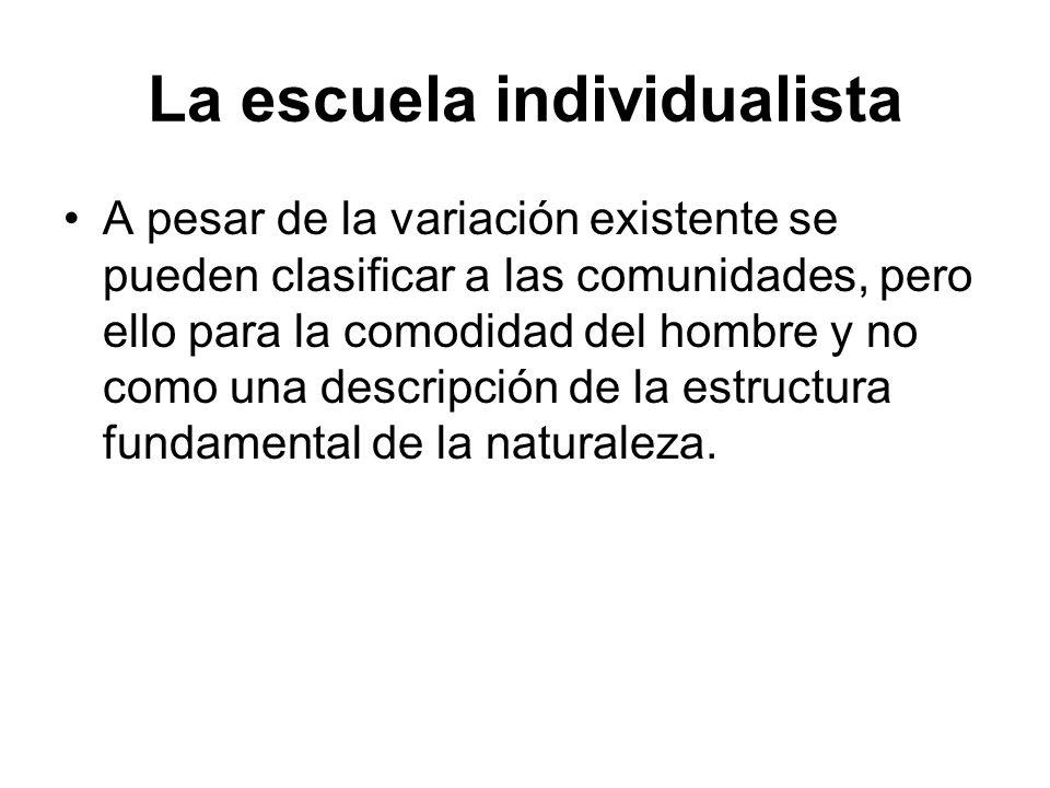 La escuela individualista A pesar de la variación existente se pueden clasificar a las comunidades, pero ello para la comodidad del hombre y no como u