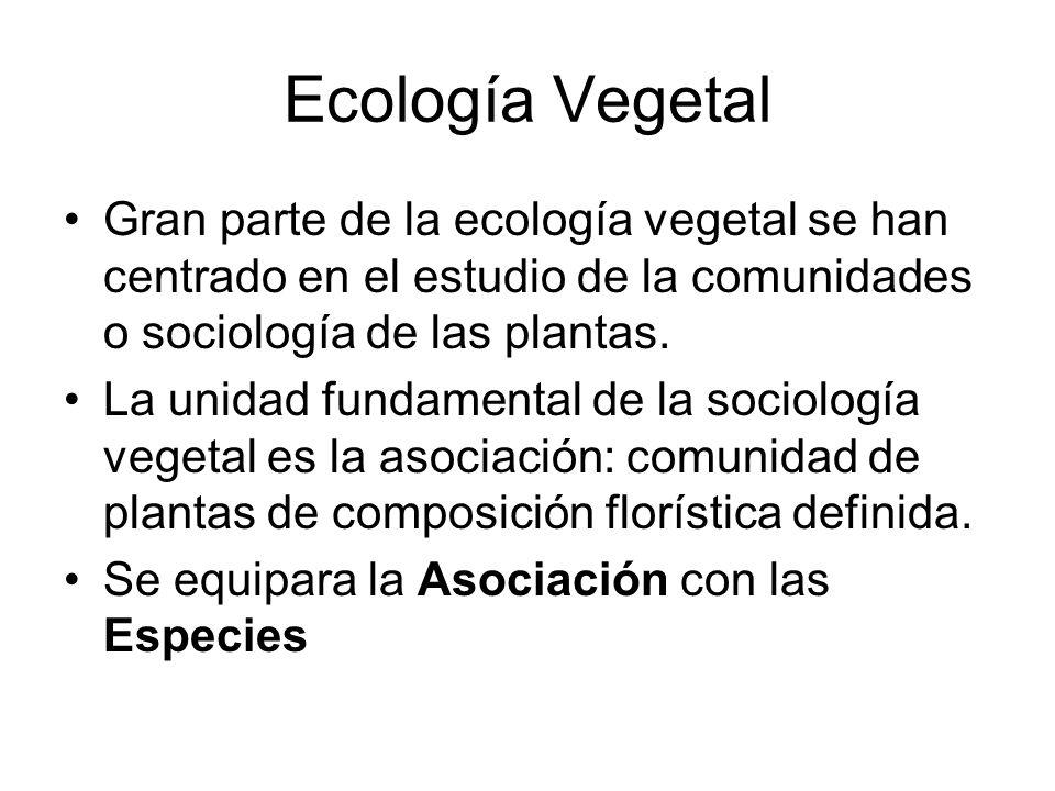 Ecología Vegetal Gran parte de la ecología vegetal se han centrado en el estudio de la comunidades o sociología de las plantas. La unidad fundamental