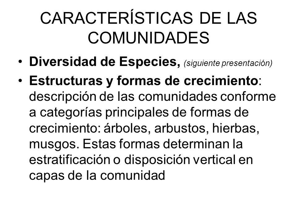 CARACTERÍSTICAS DE LAS COMUNIDADES Diversidad de Especies, (siguiente presentación) Estructuras y formas de crecimiento: descripción de las comunidade