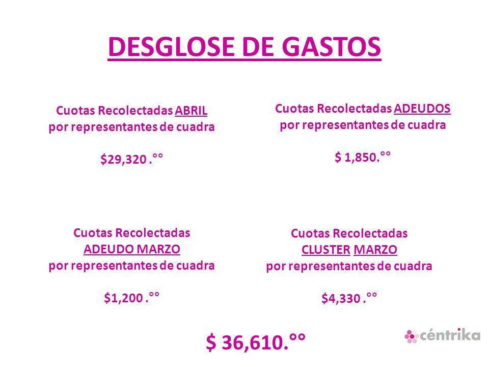DESGLOSE DE GASTOS Cuotas Recolectadas ADEUDO MARZO por representantes de cuadra $1,200.°° Cuotas Recolectadas ADEUDOS por representantes de cuadra $