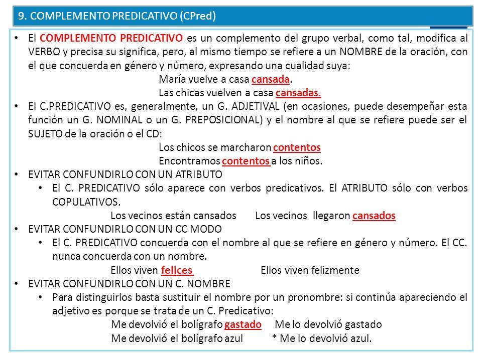 CÓMO RECONOCER EL C.PREDICATIVO Sólo aparece con verbos predicativos.