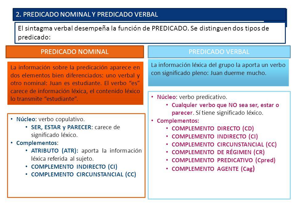 2. PREDICADO NOMINAL Y PREDICADO VERBAL El sintagma verbal desempeña la función de PREDICADO. Se distinguen dos tipos de predicado: PREDICADO NOMINAL