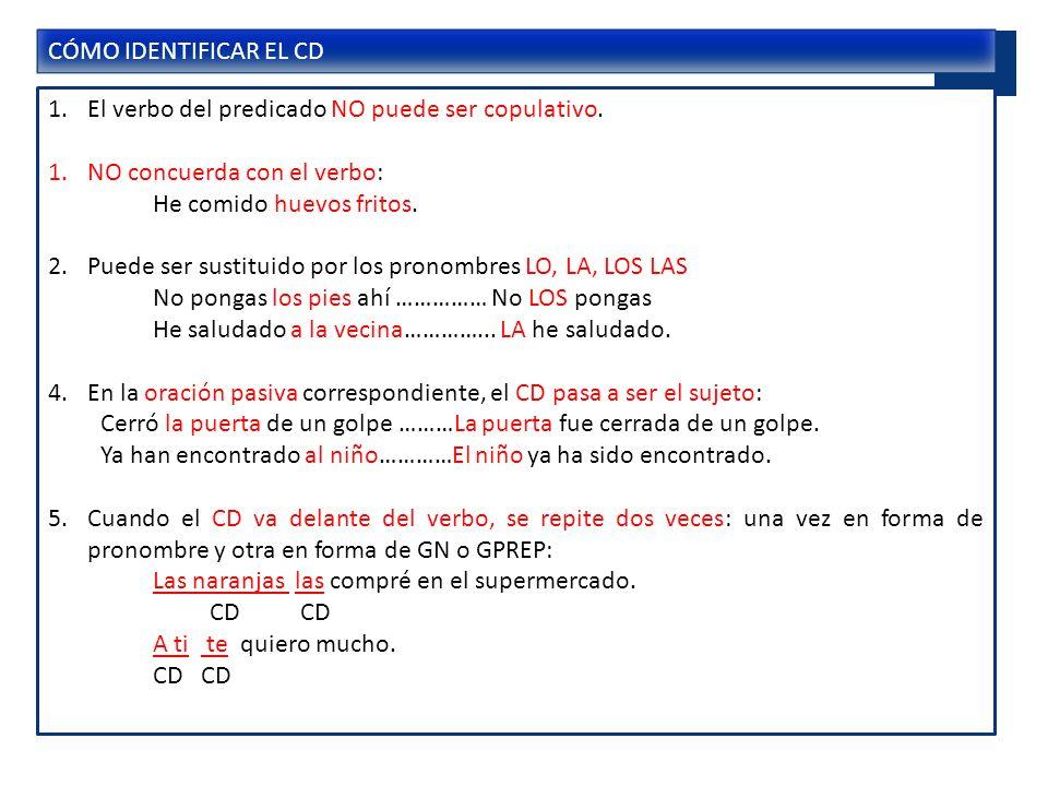 C.DIRECTO No puede aparecer con los verbos copulativos.