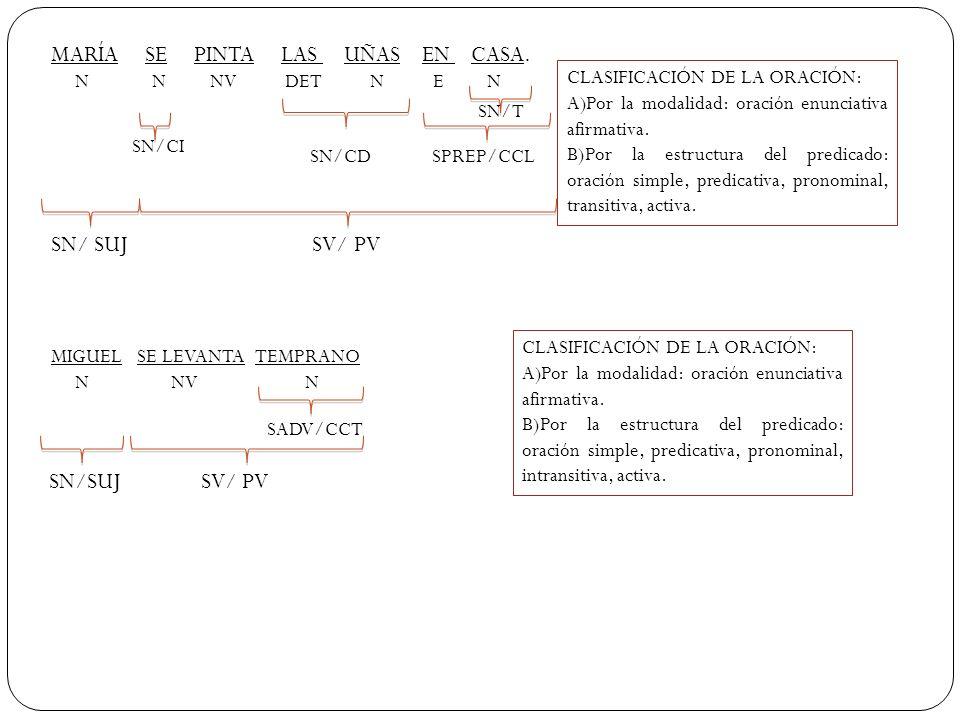 MARÍA SE PINTA LAS UÑAS EN CASA. N N NV DET N E N SN/T SPREP/CCL SN/CD SN/CI SN/ SUJ SV/ PV CLASIFICACIÓN DE LA ORACIÓN: A)Por la modalidad: oración e