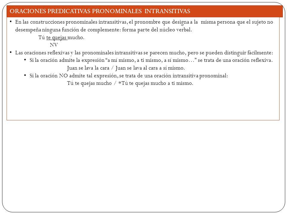 ORACIONES PREDICATIVAS PRONOMINALES INTRANSITIVAS En las construcciones pronominales intransitivas, el pronombre que designa a la misma persona que el