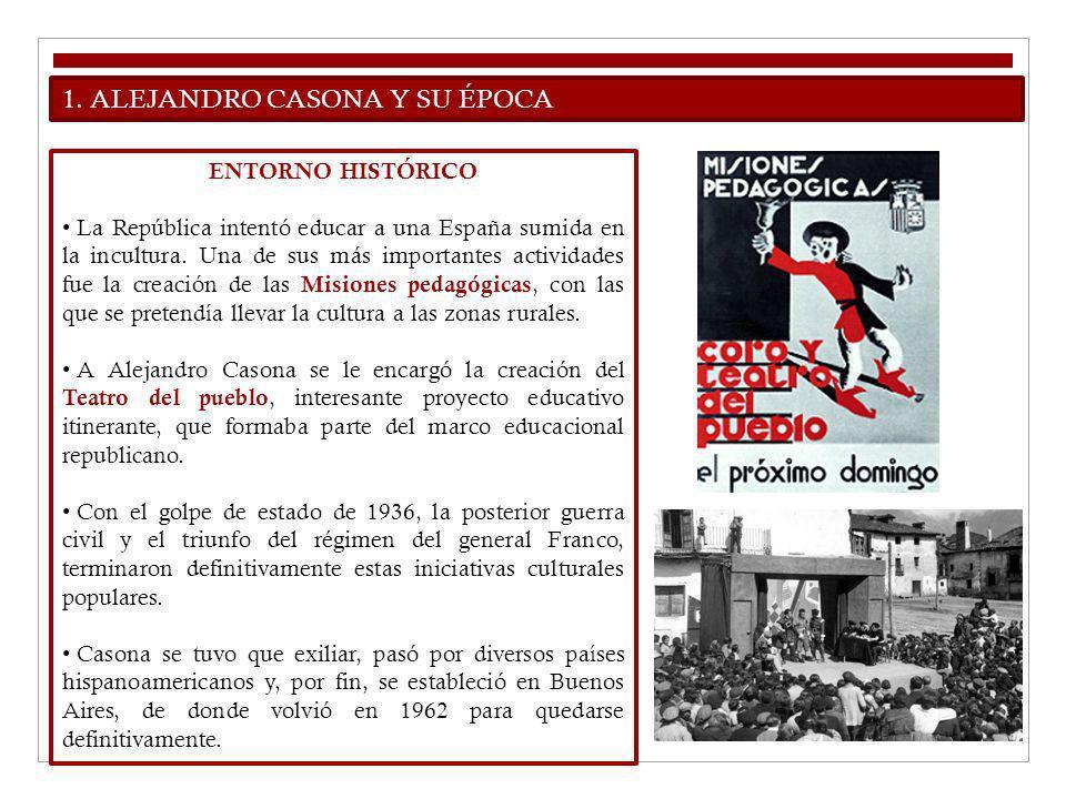 1. ALEJANDRO CASONA Y SU ÉPOCA ENTORNO HISTÓRICO La República intentó educar a una España sumida en la incultura. Una de sus más importantes actividad