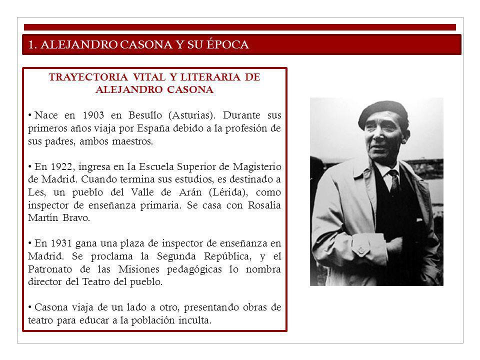 1. ALEJANDRO CASONA Y SU ÉPOCA TRAYECTORIA VITAL Y LITERARIA DE ALEJANDRO CASONA Nace en 1903 en Besullo (Asturias). Durante sus primeros años viaja p