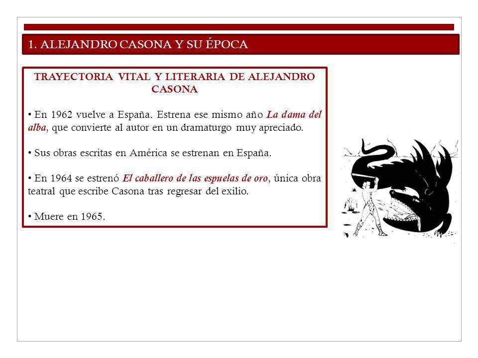 1. ALEJANDRO CASONA Y SU ÉPOCA TRAYECTORIA VITAL Y LITERARIA DE ALEJANDRO CASONA En 1962 vuelve a España. Estrena ese mismo año La dama del alba, que