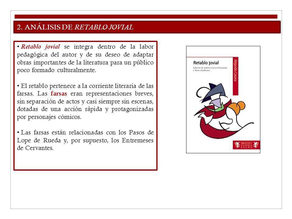 2. ANÁLISIS DE RETABLO JOVIAL Retablo jovial se integra dentro de la labor pedagógica del autor y de su deseo de adaptar obras importantes de la liter