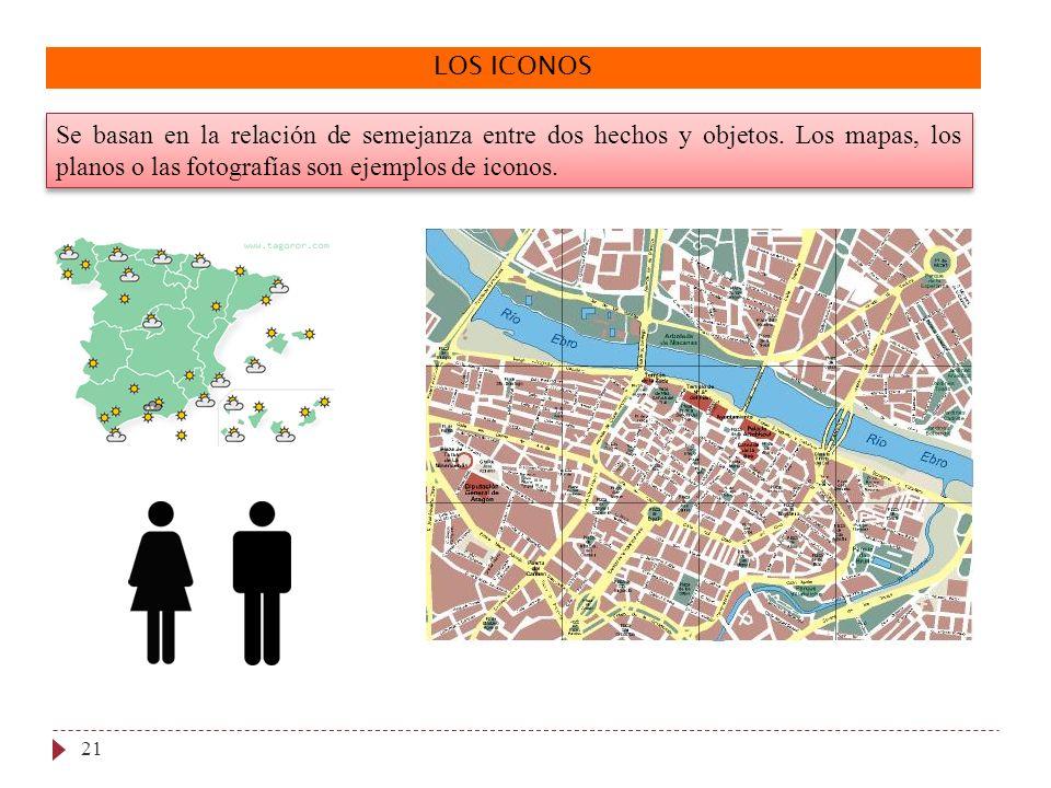 LOS ICONOS Se basan en la relación de semejanza entre dos hechos y objetos. Los mapas, los planos o las fotografías son ejemplos de iconos. 21