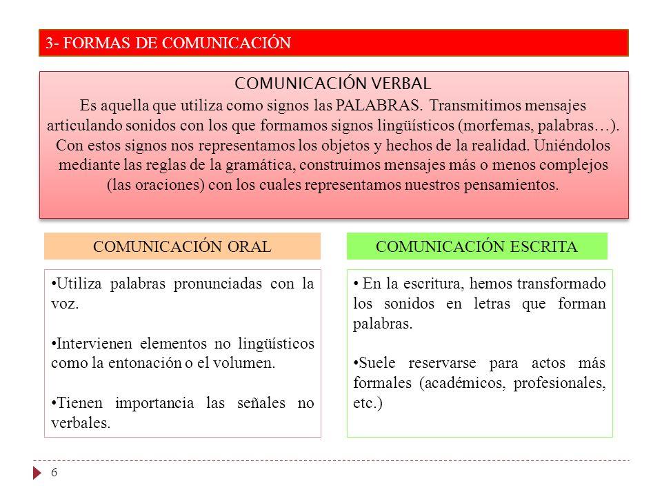 3- FORMAS DE COMUNICACIÓN 6 COMUNICACIÓN VERBAL Es aquella que utiliza como signos las PALABRAS. Transmitimos mensajes articulando sonidos con los que