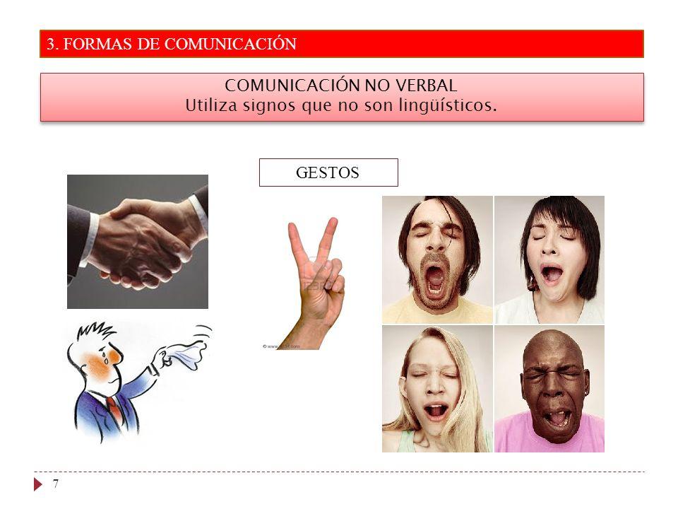 3. FORMAS DE COMUNICACIÓN 7 COMUNICACIÓN NO VERBAL Utiliza signos que no son lingüísticos. COMUNICACIÓN NO VERBAL Utiliza signos que no son lingüístic