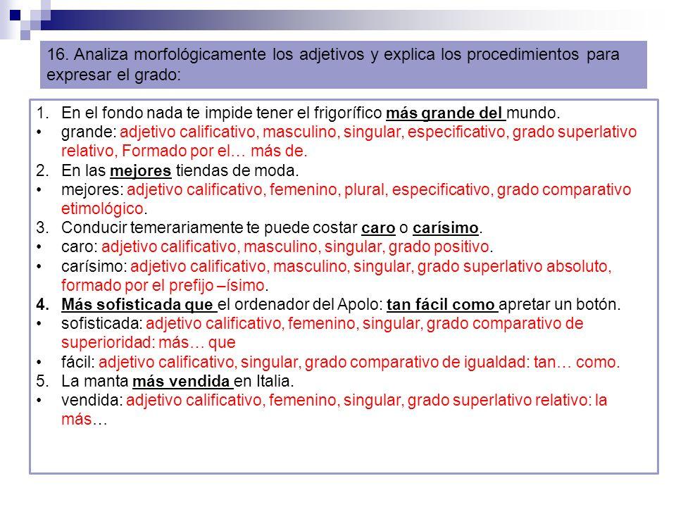 16. Analiza morfológicamente los adjetivos y explica los procedimientos para expresar el grado: 1.En el fondo nada te impide tener el frigorífico más