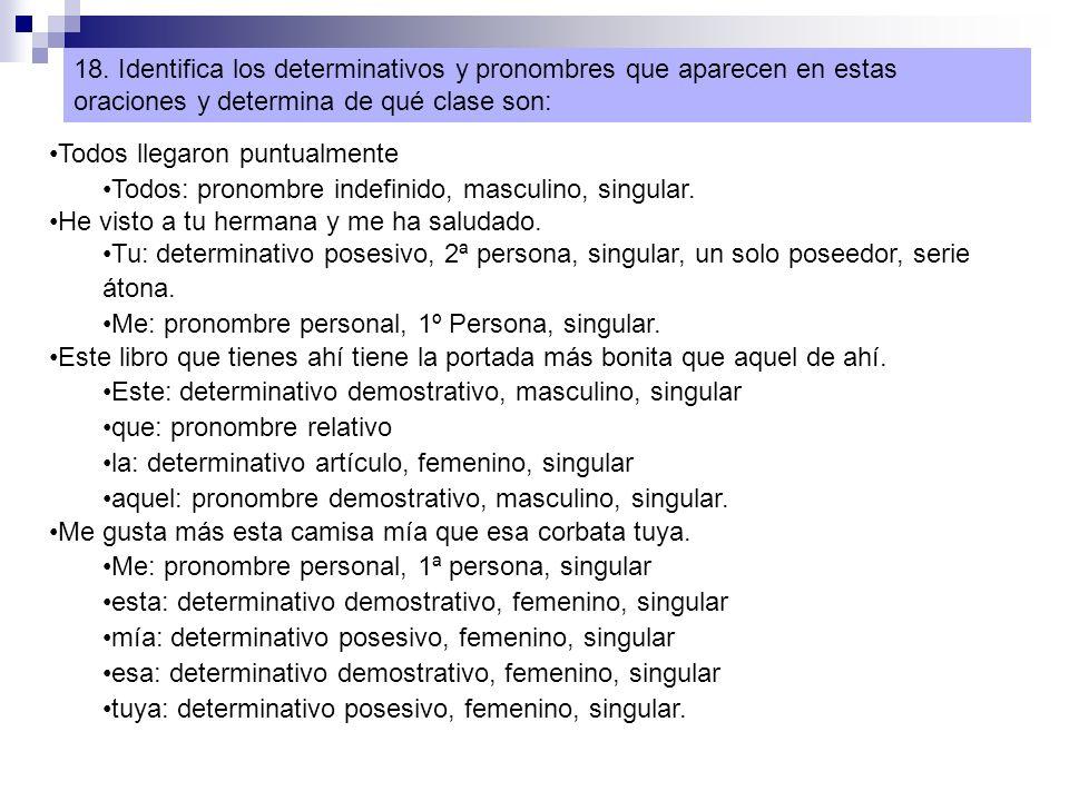 18. Identifica los determinativos y pronombres que aparecen en estas oraciones y determina de qué clase son: Todos llegaron puntualmente Todos: pronom