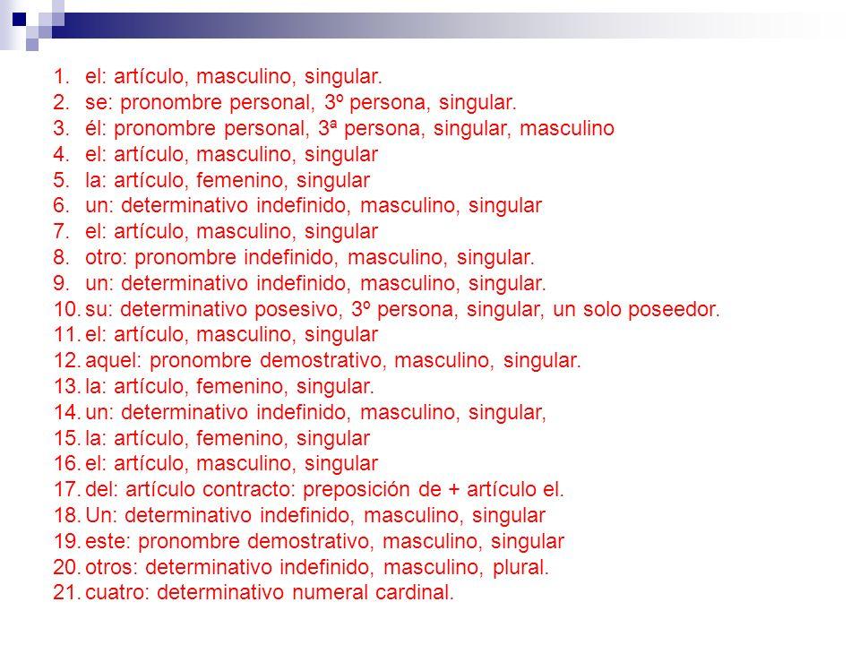 1.el: artículo, masculino, singular. 2.se: pronombre personal, 3º persona, singular. 3.él: pronombre personal, 3ª persona, singular, masculino 4.el: a