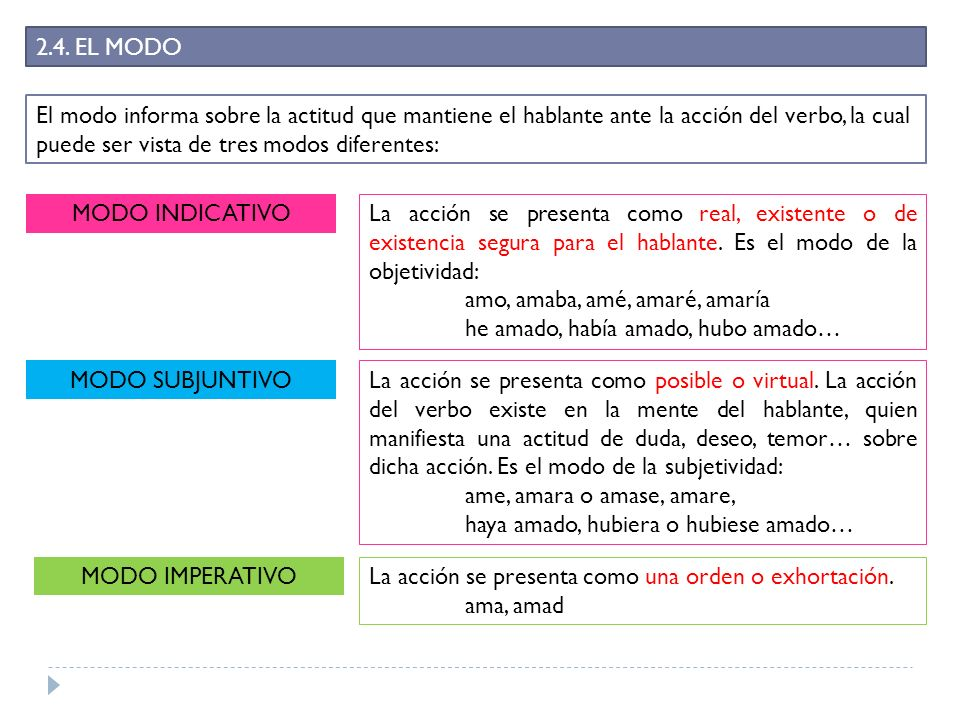 2.4. EL MODO El modo informa sobre la actitud que mantiene el hablante ante la acción del verbo, la cual puede ser vista de tres modos diferentes: MOD