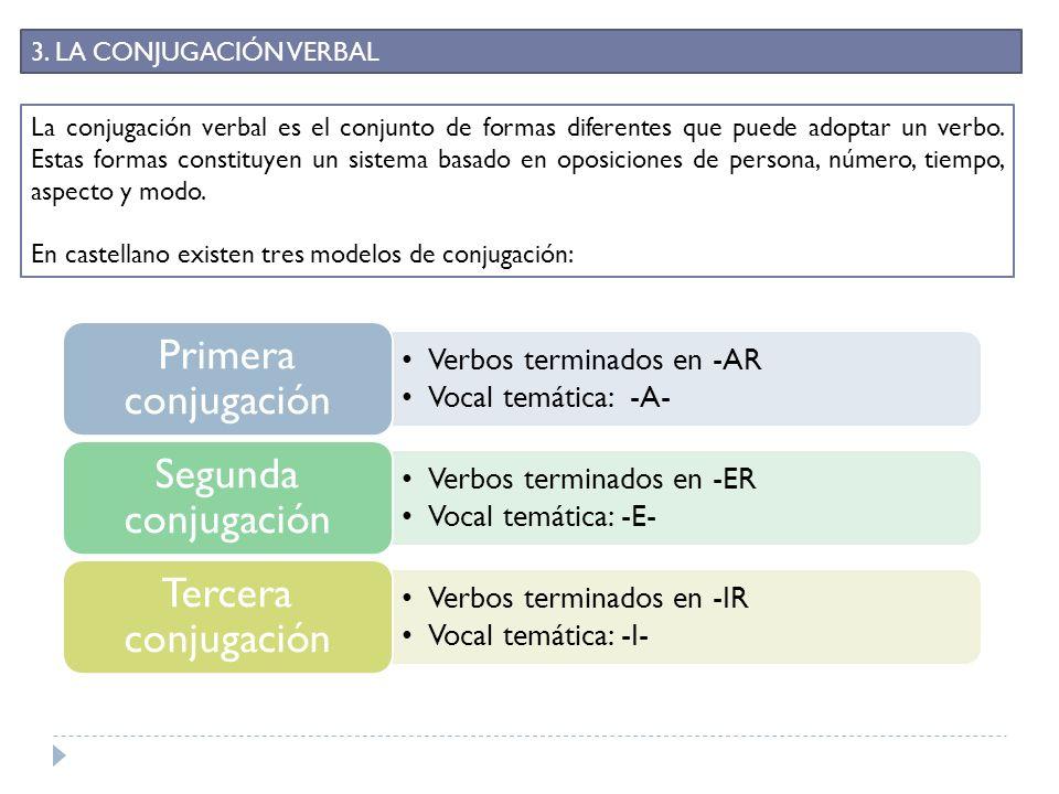 3. LA CONJUGACIÓN VERBAL La conjugación verbal es el conjunto de formas diferentes que puede adoptar un verbo. Estas formas constituyen un sistema bas
