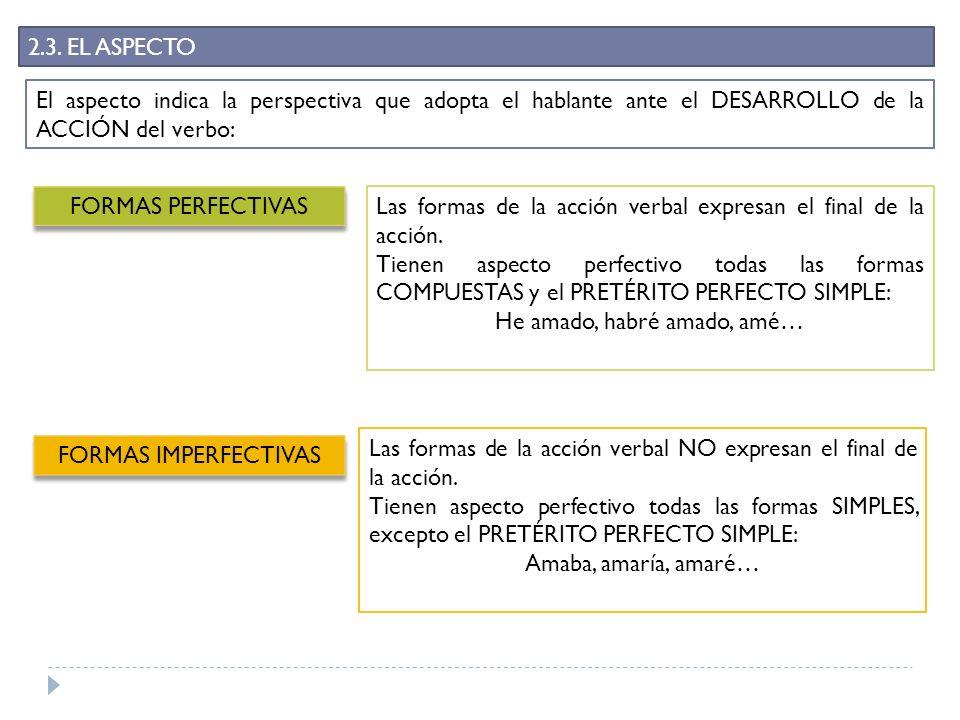 2.3. EL ASPECTO El aspecto indica la perspectiva que adopta el hablante ante el DESARROLLO de la ACCIÓN del verbo: FORMAS PERFECTIVAS Las formas de la
