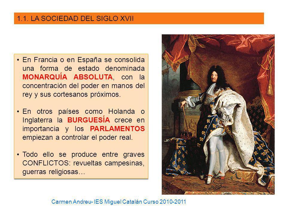 1.1. LA SOCIEDAD DEL SIGLO XVII En Francia o en España se consolida una forma de estado denominada MONARQUÍA ABSOLUTA, con la concentración del poder