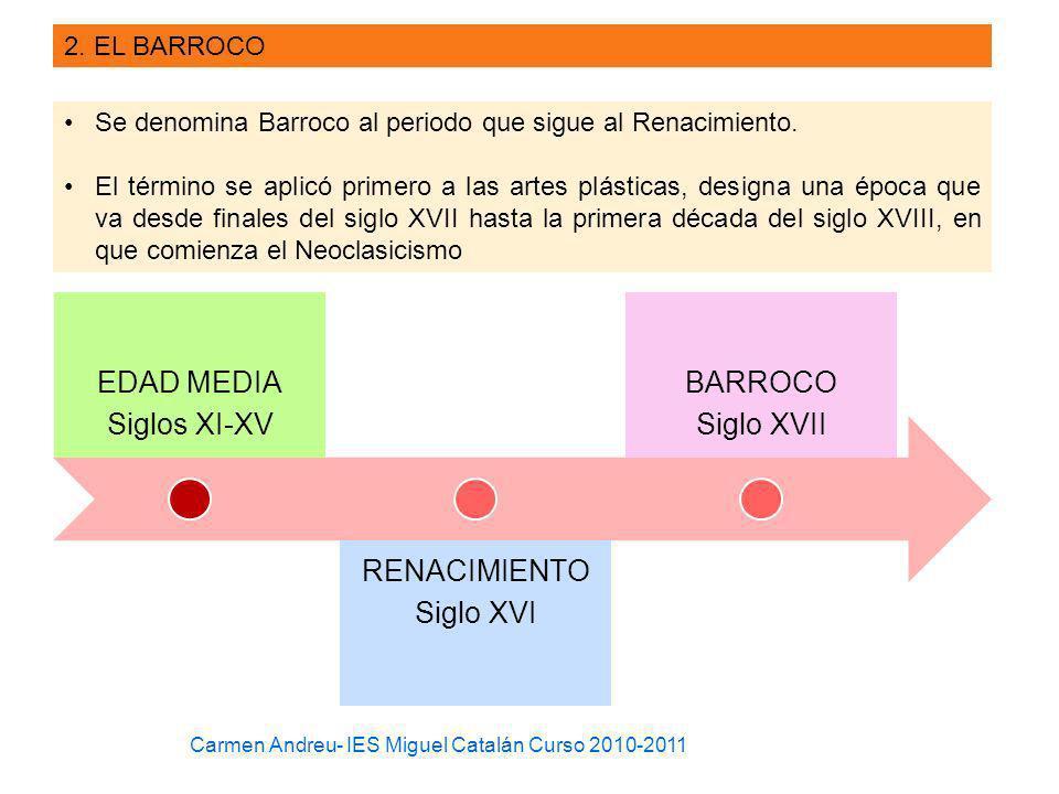 2. EL BARROCO Se denomina Barroco al periodo que sigue al Renacimiento. El término se aplicó primero a las artes plásticas, designa una época que va d