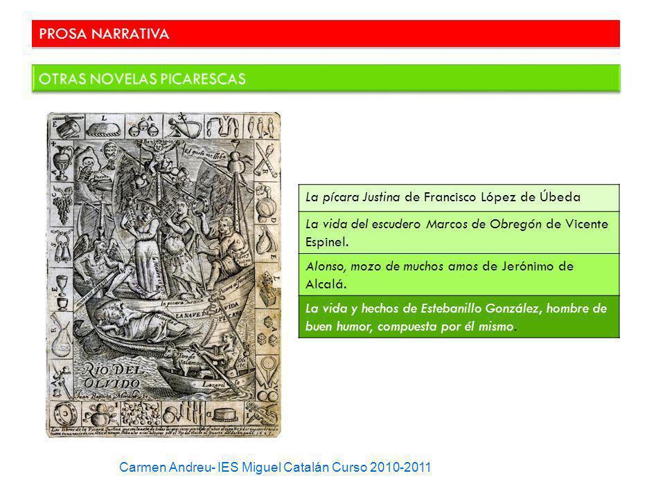 PROSA NARRATIVA La pícara Justina de Francisco López de Úbeda La vida del escudero Marcos de Obregón de Vicente Espinel. Alonso, mozo de muchos amos d