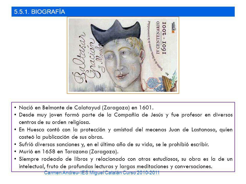 5.5.1. BIOGRAFÍA Nació en Belmonte de Calatayud (Zaragoza) en 1601. Desde muy joven formó parte de la Compañía de Jesús y fue profesor en diversos cen