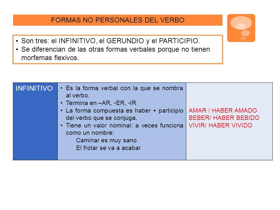 FORMAS NO PERSONALES DEL VERBO Son tres: el INFINITIVO, el GERUNDIO y el PARTICIPIO.