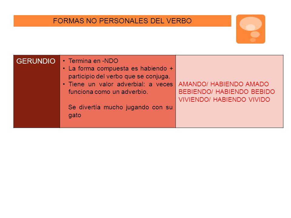 FORMAS NO PERSONALES DEL VERBO GERUNDIO Termina en -NDO La forma compuesta es habiendo + participio del verbo que se conjuga.