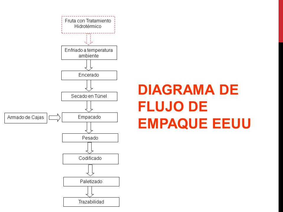 DIAGRAMA DE FLUJO DE EMPAQUE EEUU Fruta con Tratamiento Hidrotérmico Encerado Secado en Túnel Armado de Cajas Empacado Pesado Codificado Trazabilidad