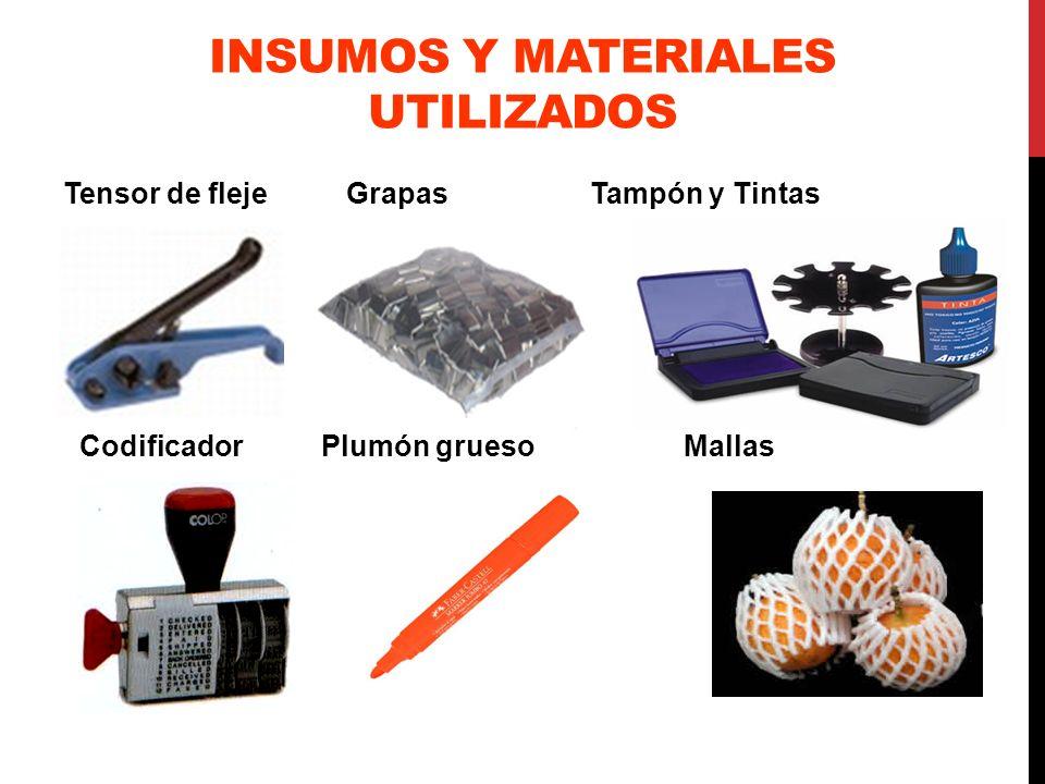 INSUMOS Y MATERIALES UTILIZADOS Tensor de fleje Grapas Tampón y Tintas Codificador Plumón grueso Mallas