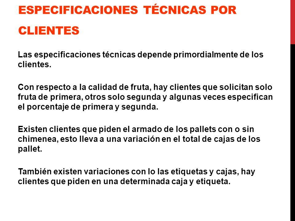 ESPECIFICACIONES TÉCNICAS POR CLIENTES Las especificaciones técnicas depende primordialmente de los clientes. Con respecto a la calidad de fruta, hay