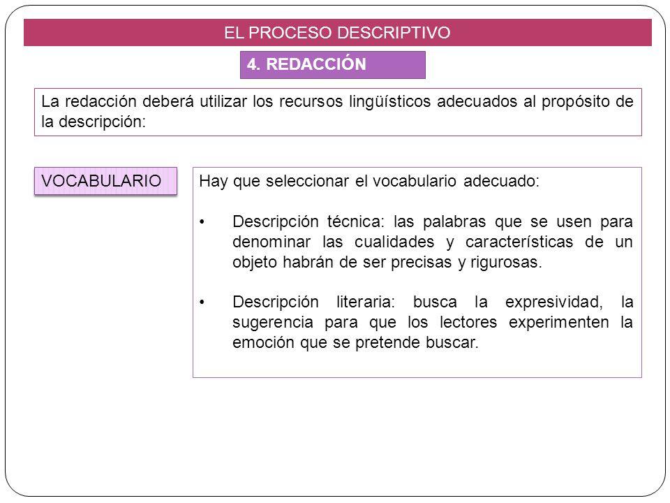 EL PROCESO DESCRIPTIVO La redacción deberá utilizar los recursos lingüísticos adecuados al propósito de la descripción: Hay que seleccionar el vocabul