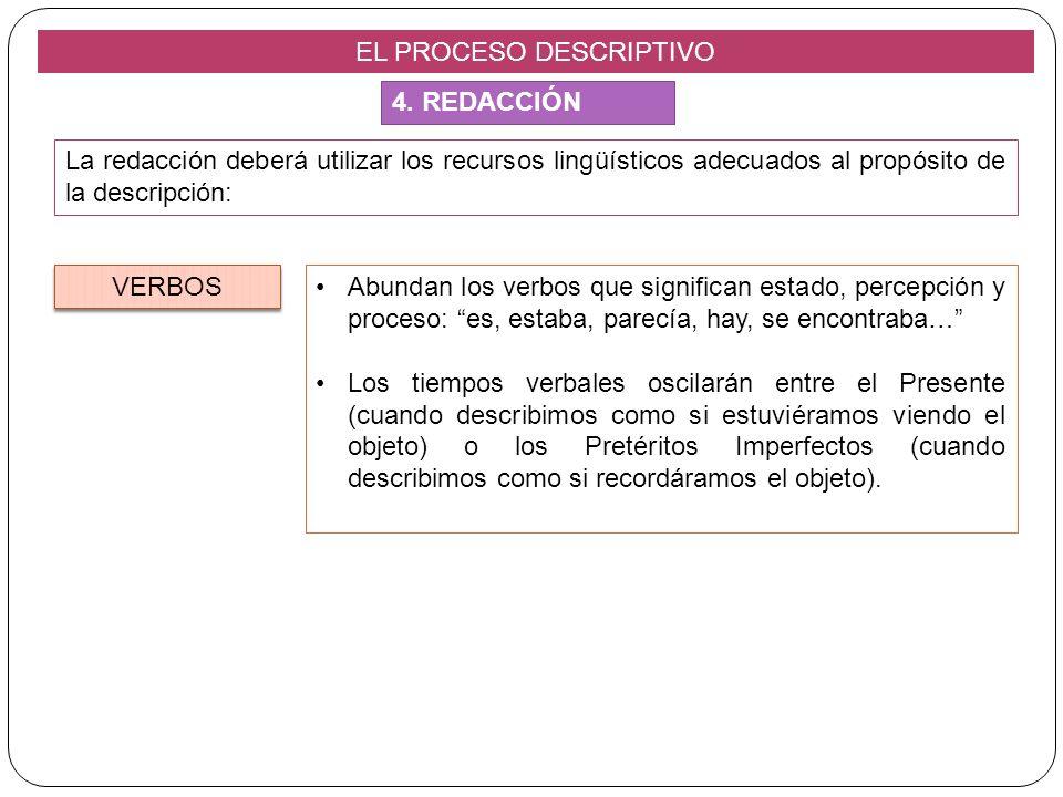 EL PROCESO DESCRIPTIVO La redacción deberá utilizar los recursos lingüísticos adecuados al propósito de la descripción: Abundan los verbos que signifi
