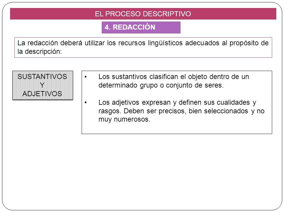 EL PROCESO DESCRIPTIVO La redacción deberá utilizar los recursos lingüísticos adecuados al propósito de la descripción: Los sustantivos clasifican el
