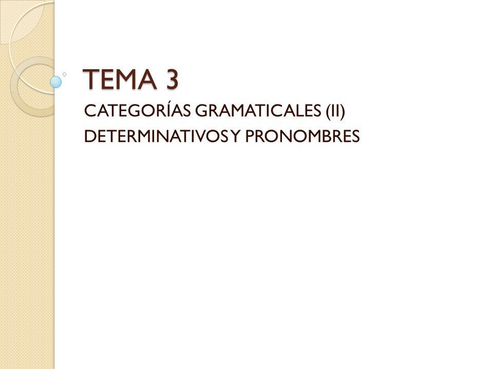 TEMA 3 CATEGORÍAS GRAMATICALES (II) DETERMINATIVOS Y PRONOMBRES