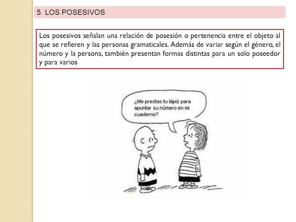 5. LOS POSESIVOS Los posesivos señalan una relación de posesión o pertenencia entre el objeto al que se refieren y las personas gramaticales. Además d