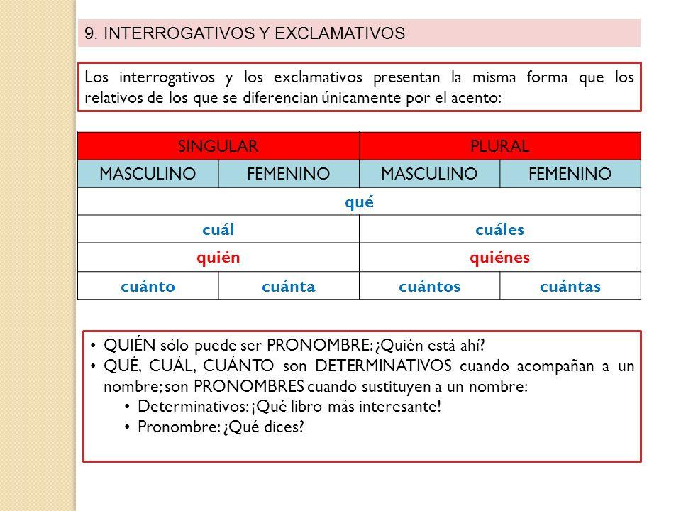 9. INTERROGATIVOS Y EXCLAMATIVOS Los interrogativos y los exclamativos presentan la misma forma que los relativos de los que se diferencian únicamente