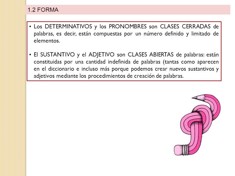 1.2 FORMA Los DETERMINATIVOS y los PRONOMBRES son CLASES CERRADAS de palabras, es decir, están compuestas por un número definido y limitado de elementos.