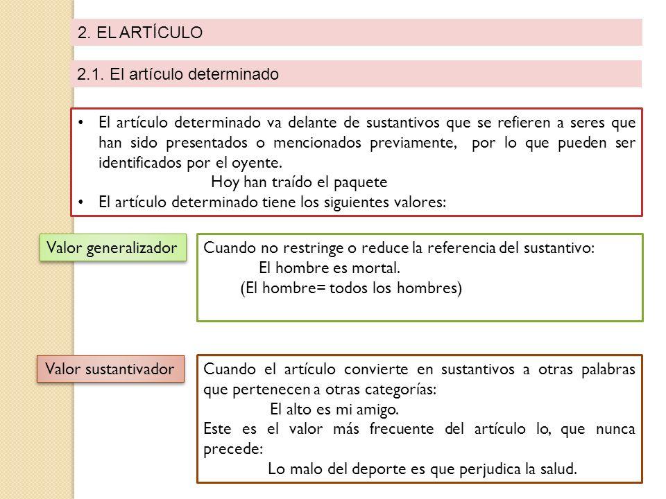 2. EL ARTÍCULO 2.1. El artículo determinado El artículo determinado va delante de sustantivos que se refieren a seres que han sido presentados o menci